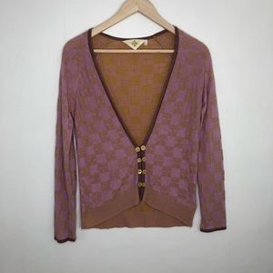 Anthropologie HWR Pink and Gold Checkered Cardigan